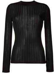 Dkny Sheer Stripe Jumper Black