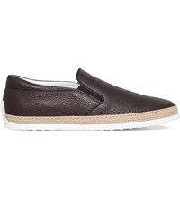 Tod's Gomma Rafia Leather Skate Shoes Brown