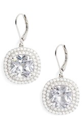 Nina Women's Cushion Cut Drop Earrings Silver
