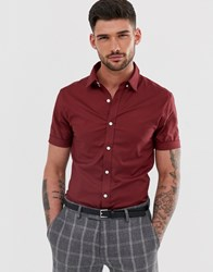 New Look Oxford Shirt In Muscle Fit In Burgundy Red