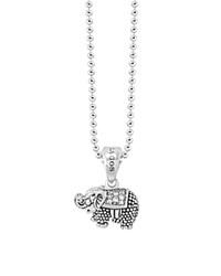 Lagos Sterling Silver Rare Wonders Small Elephant Pendant Necklace With Diamonds 16