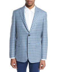 Brioni Check Plaid Two Button Sport Coat Light Gray Blue