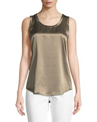 Lafayette 148 New York Perla Luxe Reversible Silk Charmeuse Shell Portobello