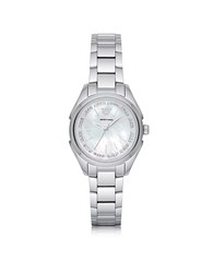 Emporio Armani Stainless Steel Women's Quartz Watch W Mother Of Pearl Signature Dial Silver