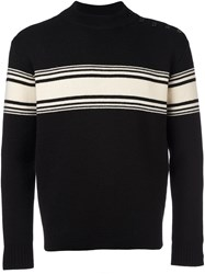 Saint Laurent Striped Button Sweater Black