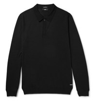 Hugo Boss Slim Fit Virgin Merino Wool Polo Shirt Black