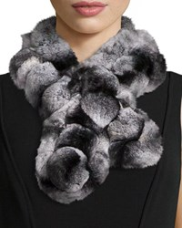 Belle Fare Rex Rabbit Fur Pompom Neck Warmer Gray