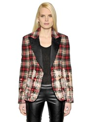 Faith Connexion Bleached Plaid Wool And Satin Jacket