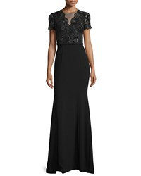 Theia Short Sleeve Beaded Bodice Gown Black Women's