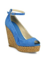 Jimmy Choo Suede Ankle Strap Cork Wedge Peep Toe Sandals Robot Blue Black Brown