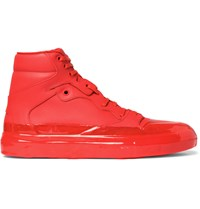Balenciaga Rubberised Leather High Top Sneakers Red