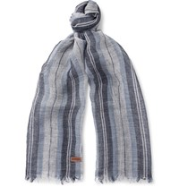 Loewe Striped Linen And Silk Blend Scarf Light Blue