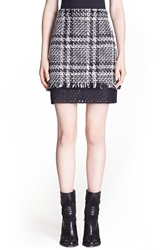 Msgm Plaid Tweed Miniskirt With Contrast Inset Black White