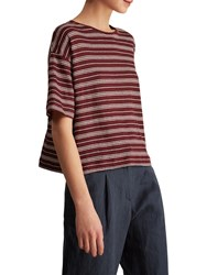 Toast Stripe Linen Swing T Shirt Monk Red Parchment White