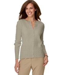 Alfred Dunner Petite Cable Knit Cardigan Tan