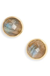 Argentovivo Argento Vivo Stone Stud Earrings Labradorite Gold