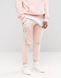 Criminal Damage Skinny Joggers With Distressing Pink