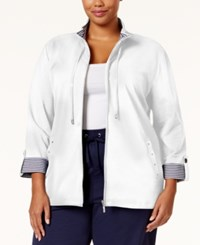 Karen Scott Plus Size Contrast Trim Knit Jacket Only At Macy's Bright White