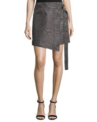 Cedric Charlier Metallic Wrap Front Mini Skirt Silver