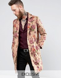 Reclaimed Vintage Overcoat In Floral Print Stone
