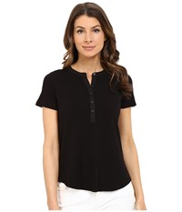 Nydj Pleat Back Knit Top Black Women's T Shirt