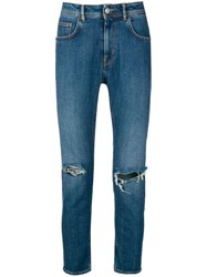 Haikure Distressed Slim Fit Jeans Blue