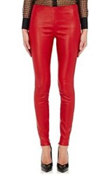 Saint Laurent Women's Lambskin Ankle Zip Leggings Red