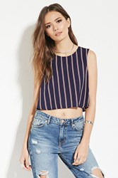 Forever 21 Contemporary Stripe Crop Top Navy Red
