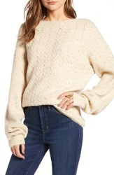Treasure And Bond Cable Stitch Sweater Beige Oatmeal Lt Hthr Combo