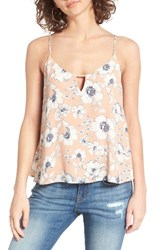 Lush Women's Keyhole Tank Taupe Anenmity Floral