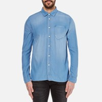 Nudie Jeans Men's Henry Denim Shirt Diagonal Blue
