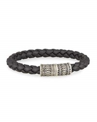 Stephen Webster Men's Highwayman Braided Black Rubber Bracelet Silver