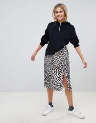 Influence Leopard Print Midi Skirt With Slits Brown