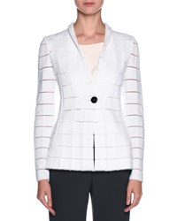 Giorgio Armani Sheer Cutout One Button Blazer White