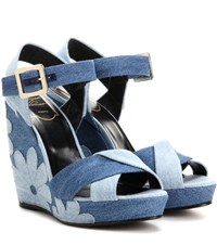 Roger Vivier Denim Patchwork Wedge Sandals Blue