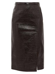 N 21 No. Front Slit Pvc Coated Skirt Black