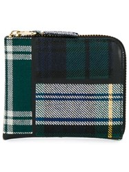 Comme Des Garcons Wallet Sa3100tp Leather And Wool Tartan Patchwork Wallet Green