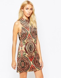 Fashion Union Printed Faux Suede Tunic Dress With Side Tab Detail Multi