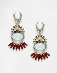 Oasis Deco Fan Drop Earrings Multilight