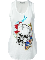 Alexander Mcqueen Embellished Fish Skull Tank Top White