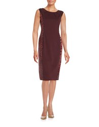Anne Klein Leopard Print Paneled Sheath Dress Red