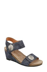 Taos 'S 'Carousel 2' Wedge Sandal Blue Floral Leather