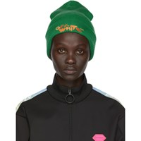 Off White Green Bubble Font Beanie