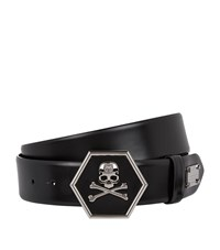 Philipp Plein Ayer Skull Crocodile Leather Belt Unisex Black
