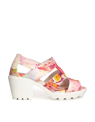 Swear Jane 4 Pink Floral Mid Heeled Sandals Pinkfloral