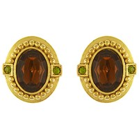 Eclectica Vintage 1980S Oscar De La Renta Oval Glass Stone Clip On Earrings Gold Olive