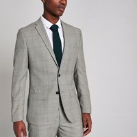 River Island Grey Check Slim Fit Suit Jacket