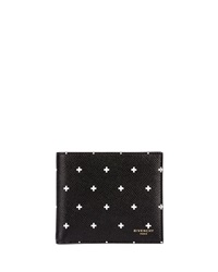 Givenchy Cross Pattern Bi Fold Wallet Black White