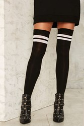 Game Is Up Thigh High Socks Black