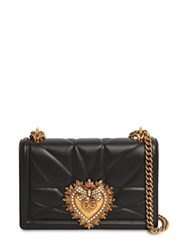 Dolce And Gabbana Small Devotion Quilted Leather Bag Black